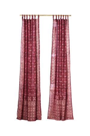 Sari Curtain - Crimson - On White