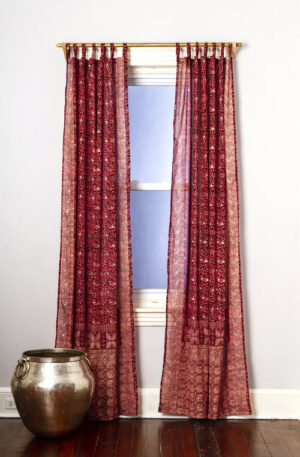 Sari Curtain - Crimson - Open
