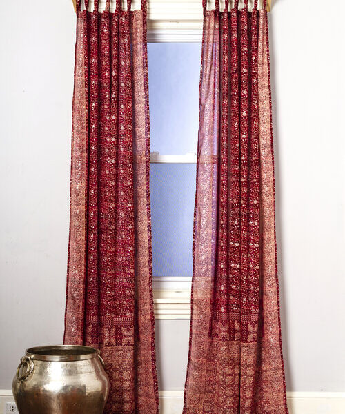 Sari Curtain - Crimson - Open