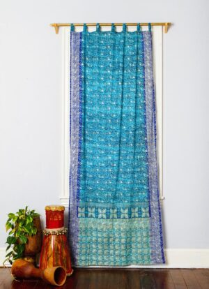 Sari Curtain - Teal/Cobalt -Closed