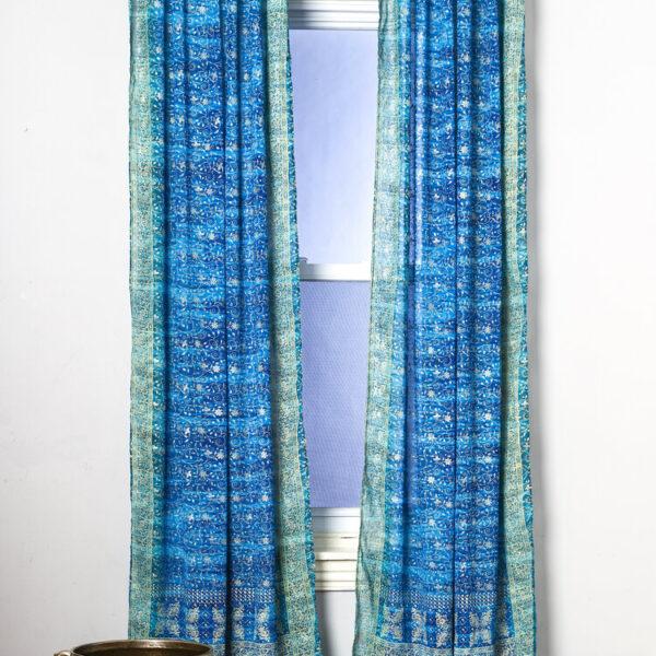 Sari Curtain - Turquoise/Teal - Open