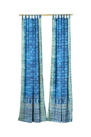 Sari Curtain - Turquoise/Teal - On White